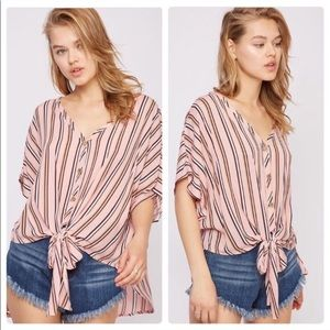 A Girl Thing Tops - Tie Front High Low Top